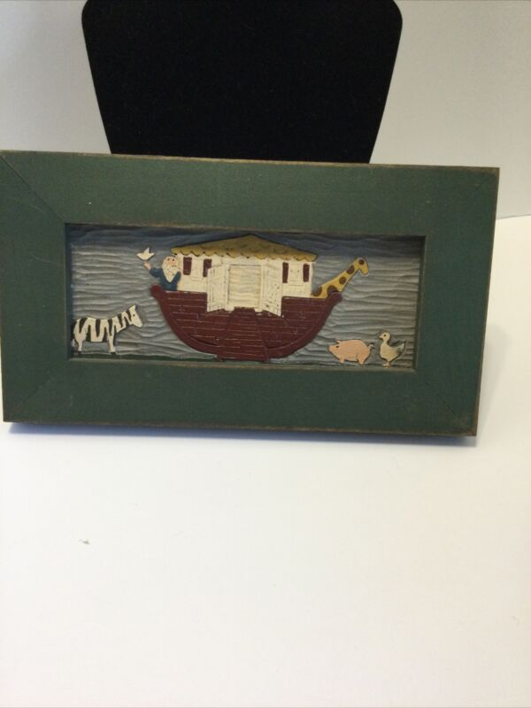 Vintage Wood Art Noah's Ark Wall Plaque, Zebra, Pig, Ducks, Giraffe.
