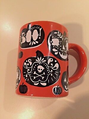 Crate And Barrel Halloween orange and black mug - Crate And Barrel Halloween Mugs
