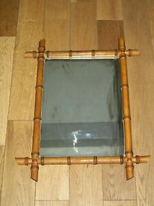 1900 ancien grand miroir cadre bois imitation bambou for Miroir imitation fenetre