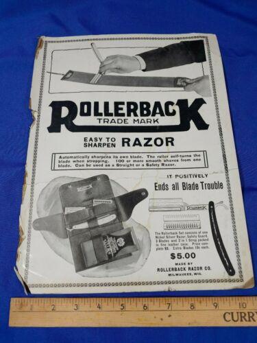 RARE Antique-VTG Advertising Sign Rollerback Straight Razor Graphics Strop Blade