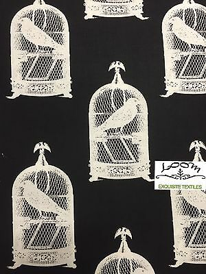 RPB29  Nevermore Raven Bird Cage Edgar Allen Poe Goth Cotton Quilting Fabric