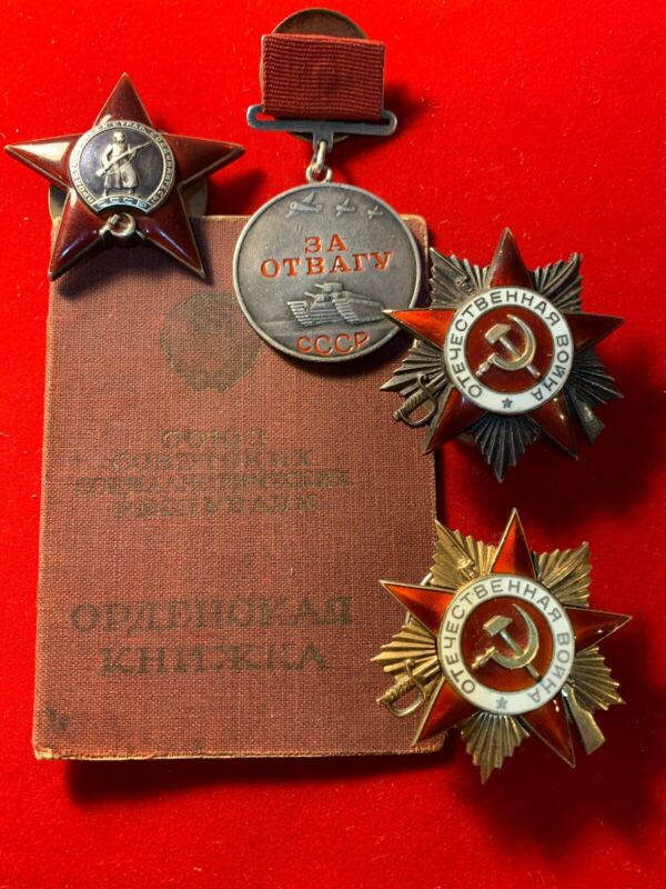 WWII USSR, Award Group Of Yudin Semen Elizarovich, Medal And 3 Orders With Docum