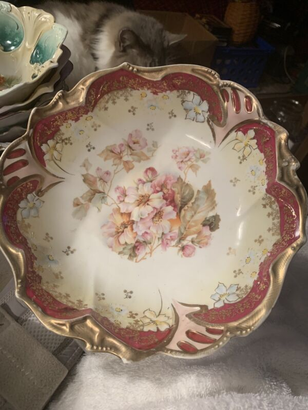 Stunning Antique Rare R S Prussia RED GOLD with Florals Cabinet Bowl a BEAUTY!!!