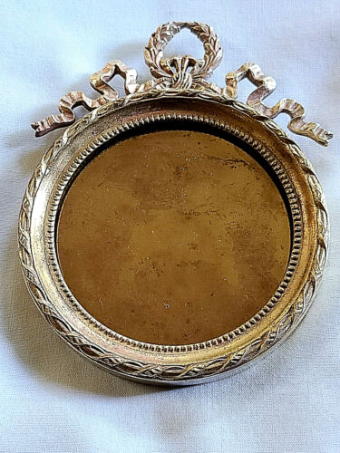 Antique French Ormolu Round Photo Frame w/Easel Back