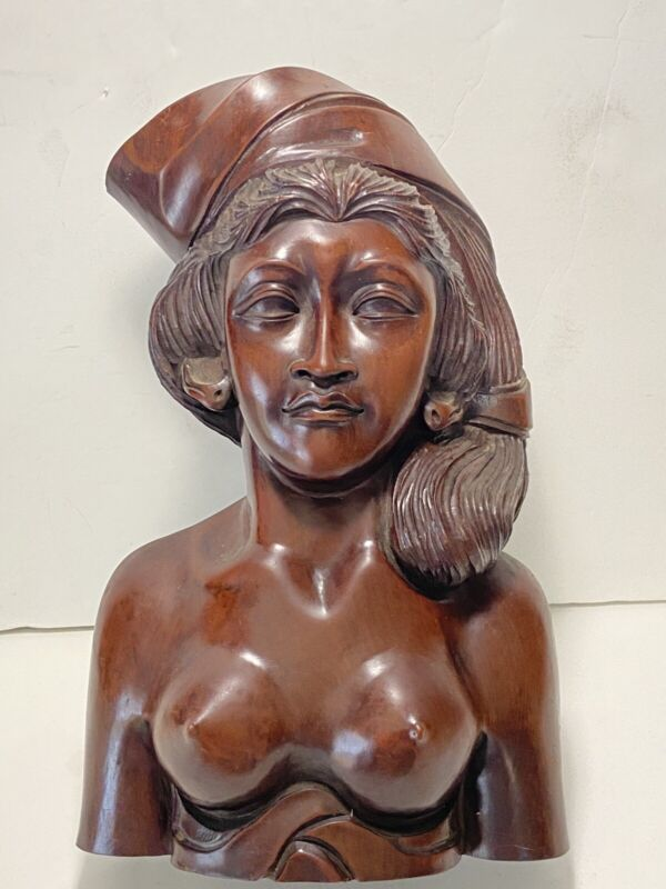 """Vintage Klungkung Bali Indonesia Wood Bust Carved Woman 13"""" Signed D.P.R. BALI"""