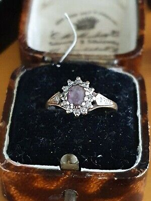 vintage 9ct gold amethyst & diamond (0.10)ring hallmarked