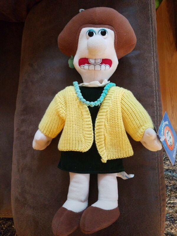 "Wallace & Gromit Wendolene Ramsbottom 16"" Plush Toy Tagged 1989 vintage plush"