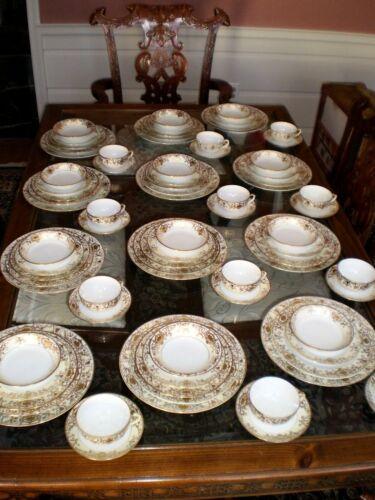 Vintage Noritake 12 place settings Fine China Dinnerware, 81 pcs, white, gilded