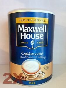 2-X-Maxwell-House-Coffee-instantaneo-Capuchino-750g-grandes-Tin-libre-UK-FRANQUEO