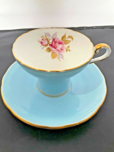 Vintage Aynsley Bone China Tea Cup and Saucer Blue w/Gold Triming With Rose
