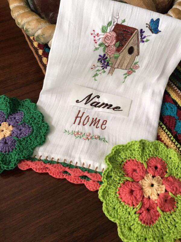 Personalized Bird House Dish Towel w/ 2 Hand Crocheted Flower Dishcloths/New/USA