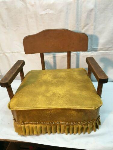 Vintage  Childs Booster Seat Wood  Yellow  Vinyl Vintage Retro Mid Century