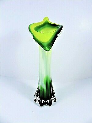 Murano Glass Cased Lily Vase Jack-In-The-Pulpit Hand Blown Green Yellow White