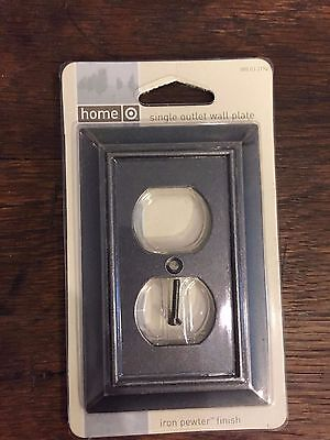 2 Single Outlet Wall Plates Iron Pewter Finish *NEW*