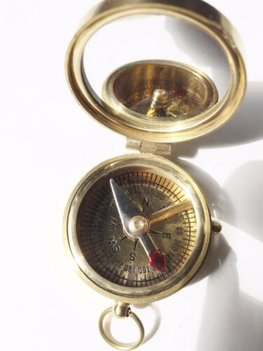 "2"" Mirror Lid Brass Compass in wooden Box.  USA Seller!!!"