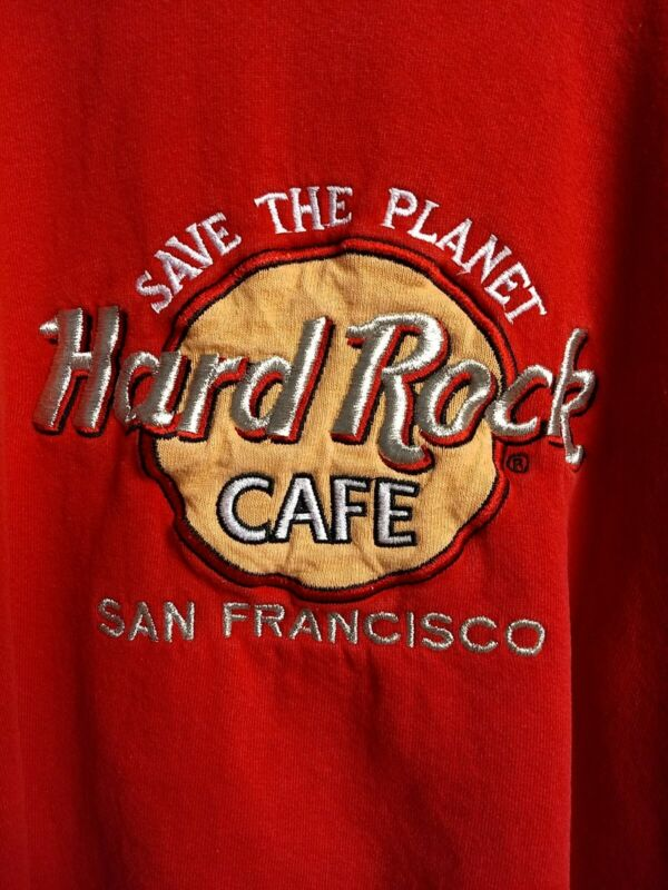 Vintage Hard Rock Cafe Sweatshirt Mens Large San Francisco Red Crew USA
