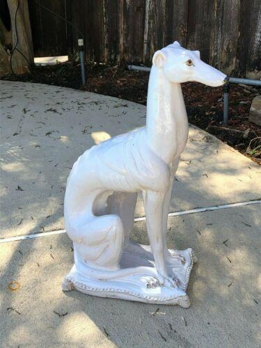 "Vintage Italy Ceramic Whippet Greyhound 28"" Dog Sculpture - Ethan Allen"