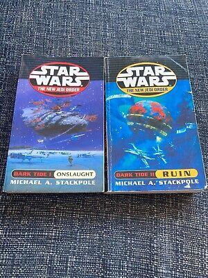 Star Wars Paperback Novels By Michael A Stackpole New Jedi Order Dark Tide 1 & 2