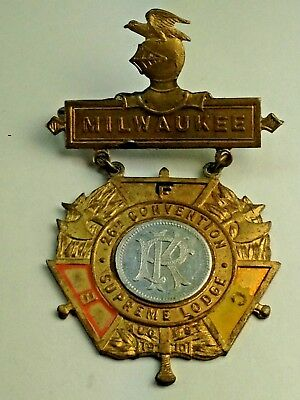 Antique 1910 Milwaukee Supreme Lodge  Medal