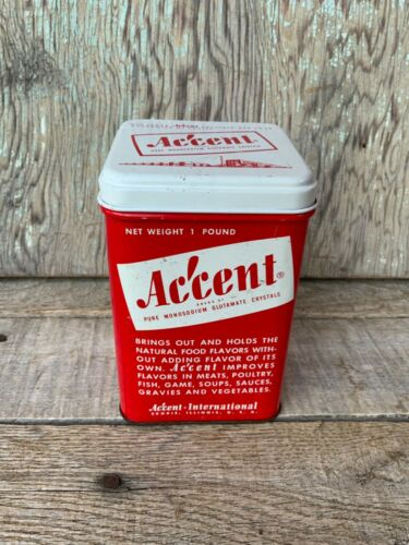 Vintage ACCENT Crystals Empty One Pound Red Tin