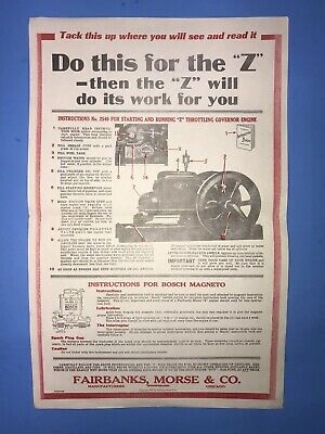 Fairbank Morse Instructions No. 2549 Z Chart Bosch Magneto Hit Miss Engine