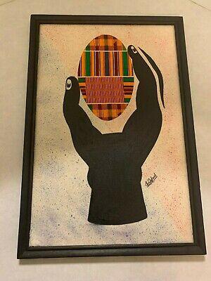 Original Framed Mixed Artwork - Hand and Egg (Obrah) Signed by Emmanuel A Yeboah