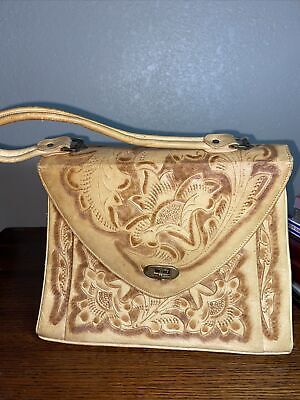 1950s Handbags, Purses, and Evening Bag Styles Vtg Possibly 1950's Brown Leather Hand Tooled Floral Purse Bag $80.00 AT vintagedancer.com