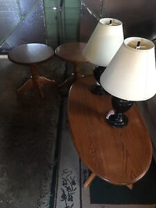 Coffee table with two end tables and two lamps