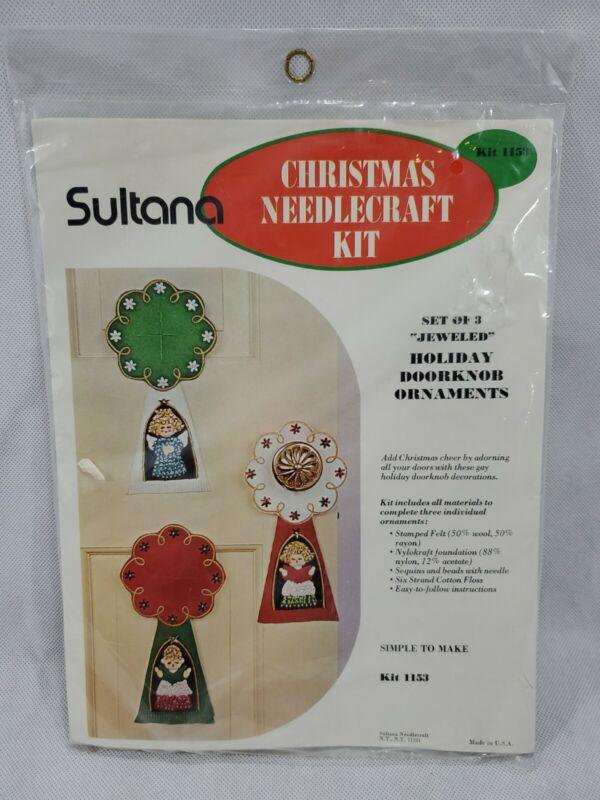 Vtg Sultana Christmas Needlecraft Kit Jeweled Holiday Doorknob Ornaments Felt