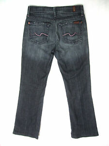 7FAMK-7-For-All-Mankind-Jeans-Bootcut-Dark-Wash-Pink-Stitch-Womens-Sz-26-28x31