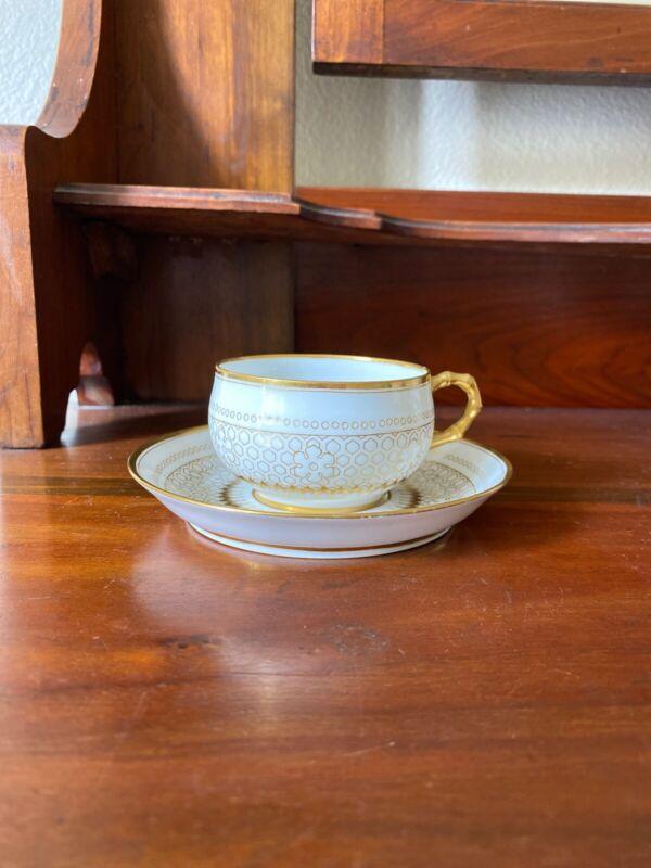 Sevres porcelain Chateau De Fountainbleu King Louis  XIV 1846 Teacup Saucer