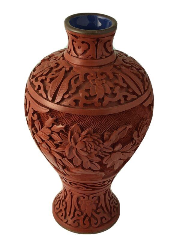 "China export carved cinnabar 7"" exquisite vase JL 031221dA@"