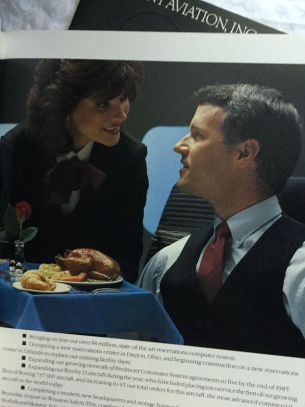 Vtg Piedmont Aviation Airlines 1985 Annual Report Air Magazine Route Map Pilot