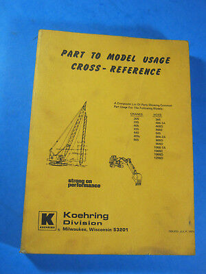 1976 Koehring Part To Model Catalog Cross Reference Manualcrane Hoe