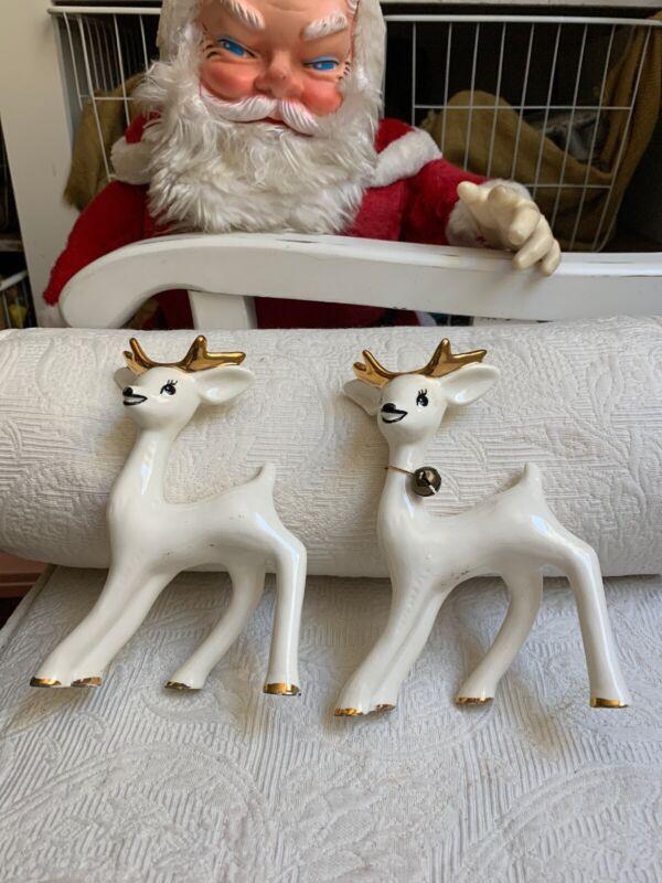 "Lot Of 2 Vintage Christmas White Reindeer Figurine Porcelain Ceramic 6"" Tall #A"
