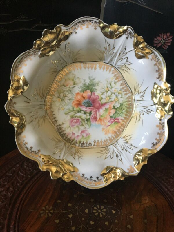 Unmarked Antique Floral Porcelain Bowl