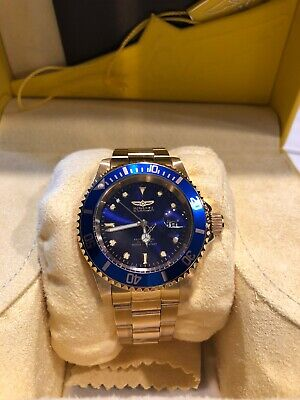 Mens Invicta Water Resistant Pro Diver Gold Tone Stainless Steel Watch