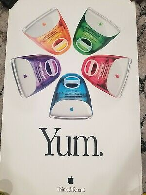 Vintage 1999 Apple iMac Macintosh Five Flavors Yum Poster 24x36 Think Different