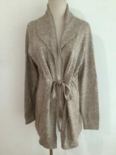 Motherhood Maternity Long Tie-Front Cardigan Sweater Beige White Heather Size M