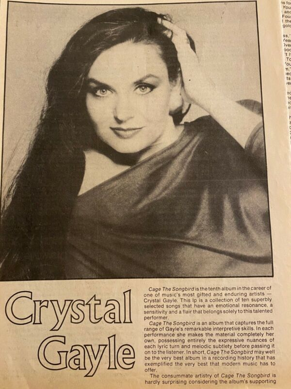 Crystal Gayle, Two Page Vintage Clipping