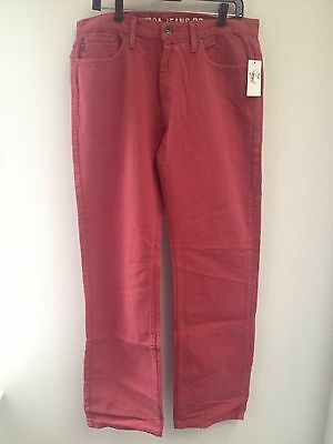 Nautica Khaki Pants 34x34 Mens Relaxed Fit Red 100% Cotton Nwt