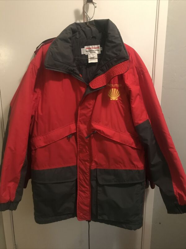 WearGuard Shell Oil Parka Jacket Red Flap Pockets Full Zip Snaps Mens Small Long
