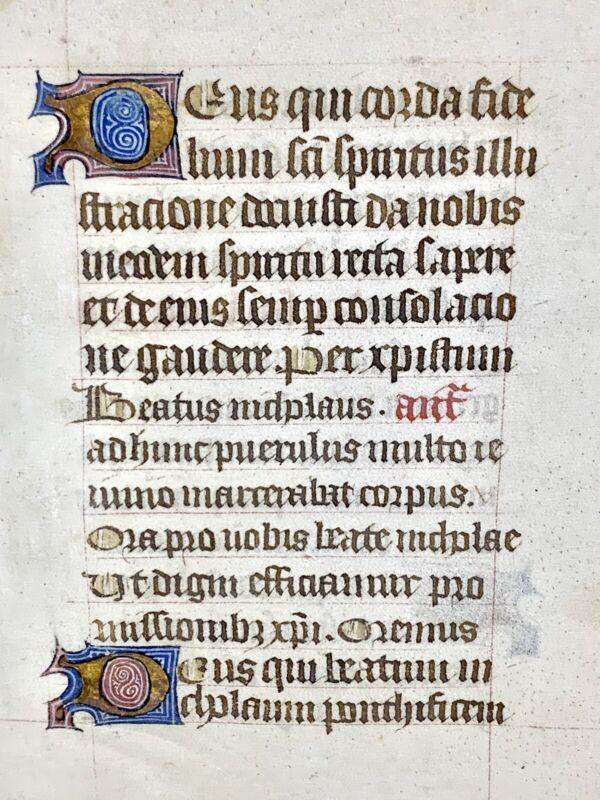 Illuminated Leaf 16th Century Illuminated Vellum Manuscript Latin Gothic