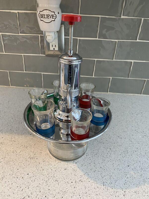 Vtg mid century Pump Liquor Dispenser Brass & Glass Spin Tray Shot Glasses