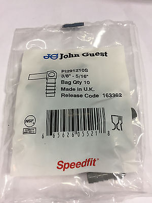 John Guest PI 291210S tube to hose elbow, 3/8 stem OD, 5/16 hose ID (bags of 10) 3/8 John Guest Fitting