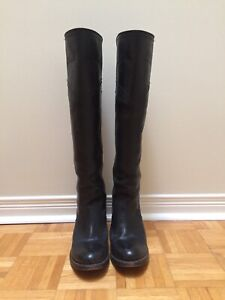 Black Frye leather knee high boots