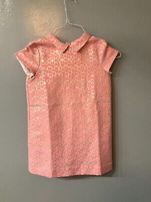 BONPOINT Woven Hearts on Gold Lame Girls dress Size 8