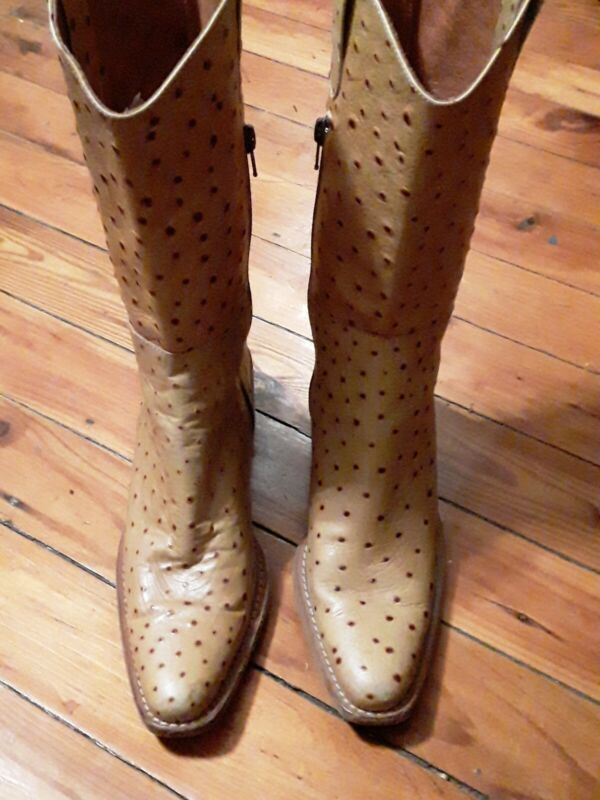 , Exotic, Full, Quill, Ostrich, Cowboy, Western, Roper, Boots, 8M, Yellow, Tan, , ,