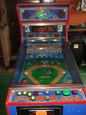 "1991 RECONDITIONED WILLIAMS ""SLUGFEST"" PINBALL PITCH & BAT W/CARD DISPENSER"