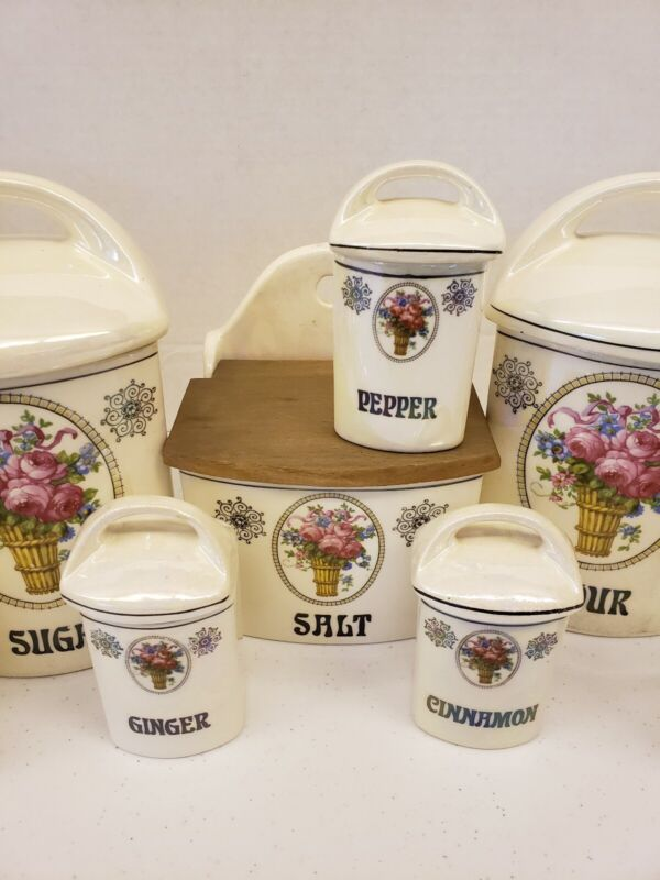 Early 20th Century Lustreware Labeled Kitchen Canisters 14pc w/ Lids. Beautiful!